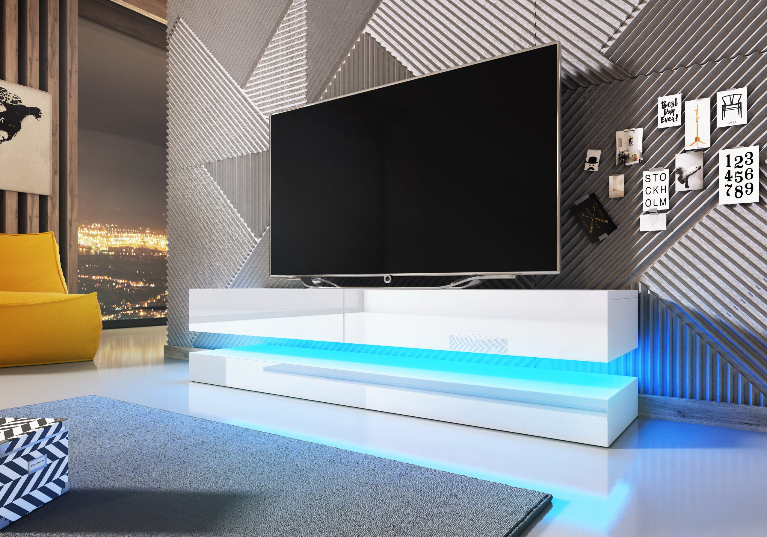 tv lowboard board schrank tisch m bel city hochglanz wei ebay. Black Bedroom Furniture Sets. Home Design Ideas