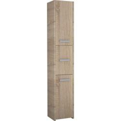 Badschrank 3 Türen Badezimmerschrank Hochschrank Badmöbel Schrank Modern 170x40cm weiß