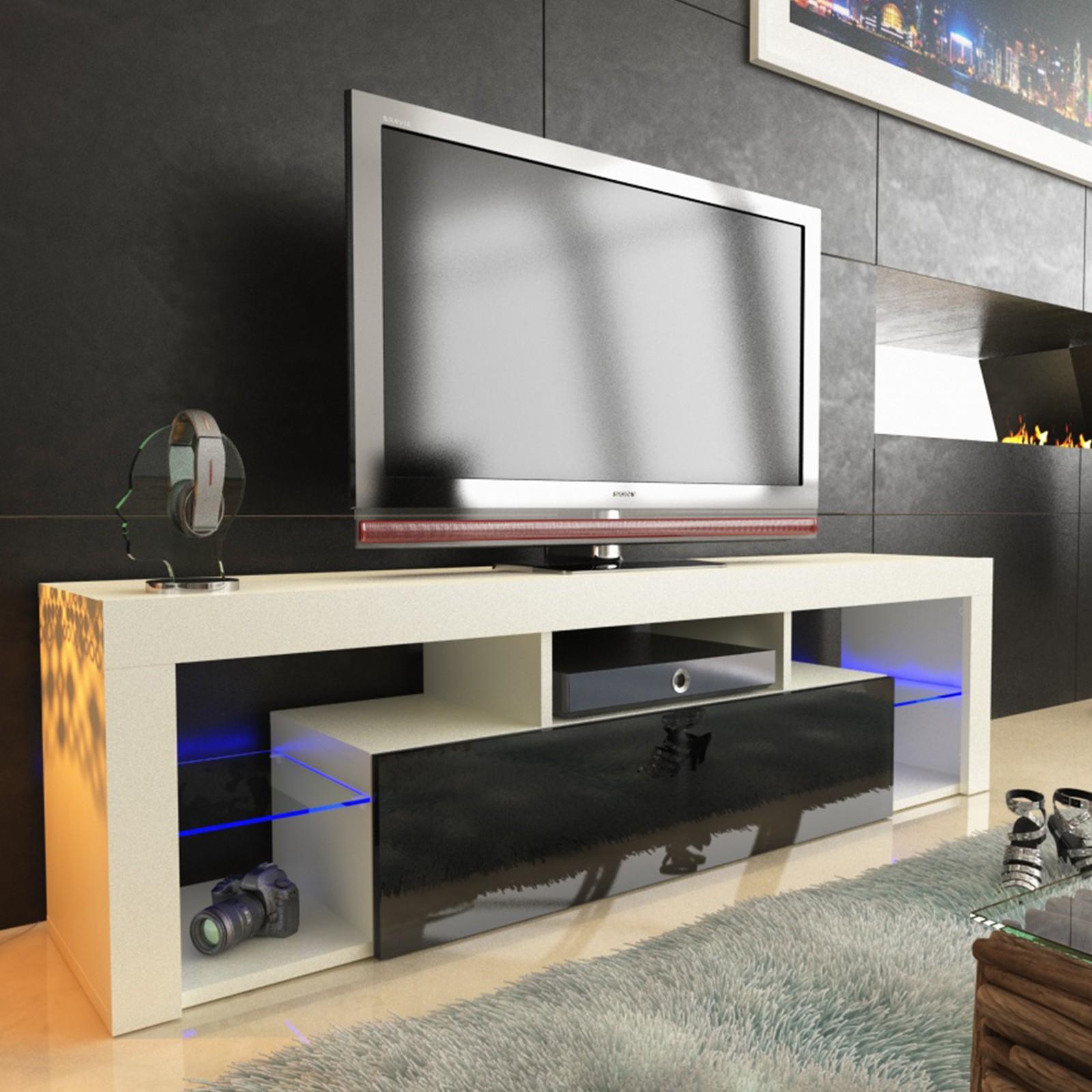 tv lowboard schrank tisch board 130 160 200cm hochglanz mit rbg led beleuchtung ebay
