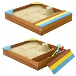 Sandkasten Sandbox mit Deckel SITZBÄNKEN Sandkiste 150x150CM Holz Imprägniert Schüsseln