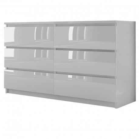 Kommode mit 6 Schubladen 140cm hochglanz Sideboard weiß Anrichte