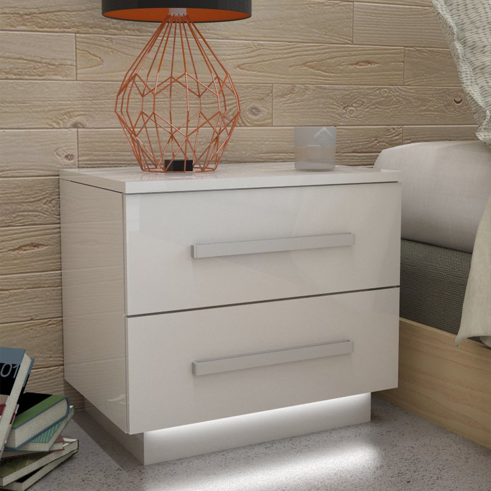 nachttisch led kommode hochglanz nachtschrank wei beleuchtung wei ebay