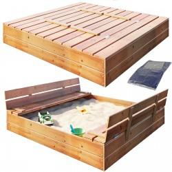Sandkasten Sandbox mit Deckel SITZBÄNKEN Sandkiste 120x120CM Holz Imprägniert Schüsseln