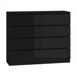 Kommode mit 8 Schubladen 140cm Sideboard schwarz Hochglanz Anrichte holz