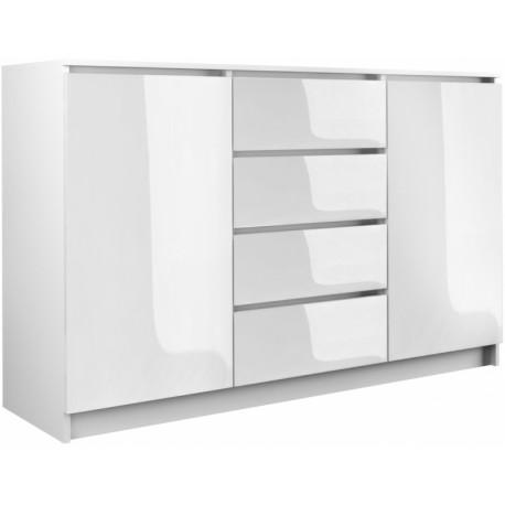 Kommode mit 4 Schubladen 2 Schränke 140cm Klamotenschrank Sideboard Anrichte holz Sonoma