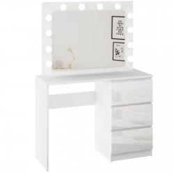 Schminktisch Kosmetiktisch Spiegel LED-Beleuchtung Frisiertisch Hochglanz Weiß Make-up