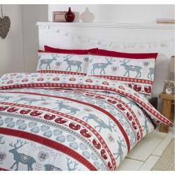Bettwäsche 135x200 Weihnachten Baumwolle Winter Wichtel Rot Thermo 2 Tag Set