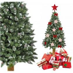 Weihnachtsbaum Künstlicher Kunstbaum Tannenbaum Christbaum Holzstamm Schnee 160cm