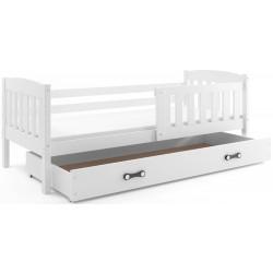 Kinderbett mit Matratze und Schublade 190x80 weiß