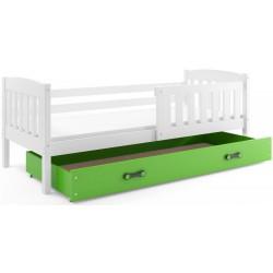 Kinderbett mit Matratze und Schublade 160x80 weiß blau