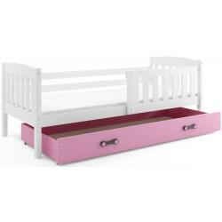 Kinderbett mit Matratze und Schublade 160x80 weiß grün