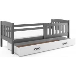 Kinderbett mit Matratze und Schublade 160x80 weiß rosa