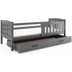 Kinderbett mit Matratze und Schublade 160x80 Graphit - weiß