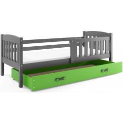 Kinderbett mit Matratze und Schublade 160x80 Graphit - blau