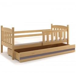 Kinderbett mit Matratze und Schublade 160x80 Kiefer - weiß