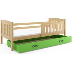Kinderbett mit Matratze und Schublade 160x80 Kiefer - blau