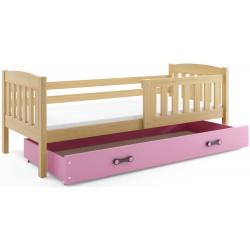 Kinderbett mit Matratze und Schublade 160x80 Kiefer - grün