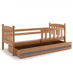 Kinderbett mit Matratze und Schublade 160x80 erle - weiß