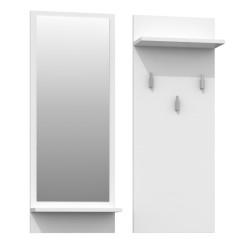 Wandgarderobe Garderobenpaneel Garderobe Spiegel Flurgarderobe Weiß Matt