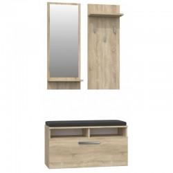 Garderobe Wandgarderobe Paneel Spiegel Schrank kommode Sonoma