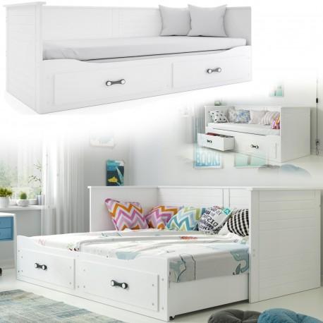 Bett weiss ausziehbar Matratze Lattenrost mit Schubladen 80 / 160x200cm