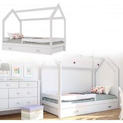 Kinderbett mit Schublade Hausbett Haus Holz Weiß Bettenkauf 160x80cm