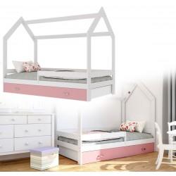 Kinderbett mit Schublade Hausbett Haus Holz Weiß blau Bettenkauf 160x80cm