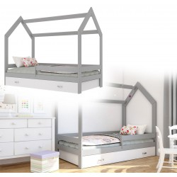 Kinderbett mit Schublade Hausbett Haus Holz Kiefer rosa Bettenkauf 160x80cm