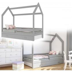 Kinderbett mit Schublade Hausbett Haus Holz grau weiss Bettenkauf 160x80cm